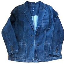 Nwot Gap Dark Blue Denim Blazer Jacket With Patch Pockets Womens Sz 16 or Xl Photo