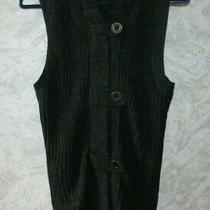 Nwot Gap Hooded Women's Wool vest.size 12.charcoal.stretch.front Zipper Buttons Photo
