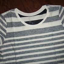 Nwot Gap Reverse Navy Stripe Ss Essential Crew Cotton Tee Size S Photo