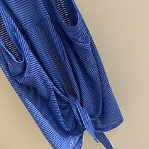 Nwot Gap Women Gapfit Semi Sheer Tie Back Blue Cover Up Tank Large Photo