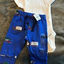 Nwot Gerber Organic Cotton White Onesie & Baby Gap Blue Pants Nwt 0-3 Mos Photo
