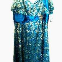 Nwot Gorgeous Aqua Blue Lace Gold Dress Evening Formal Plus 26 4xl  Torrid Gift Photo