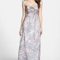 Nwot Graphite  Amsale 'Amore' Print Silk Chiffon Gown Size 4 Photo