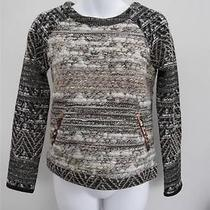 Nwot Gryphon Black & Cream Metallic Knitsweater/top W/sequin Accents Size Xs Photo