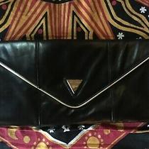 Nwot Guess Clutch Evening Purse Black Leather Gold Accent Night Party Bag Glam Photo