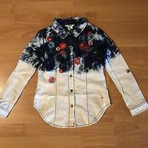 Nwot Guess Kids Cotton Denim Button Down Long Sleeve Shirt Top Girls Size 7/8 Photo