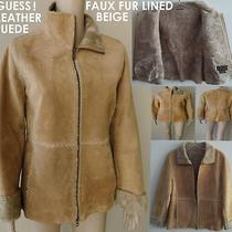 Nwot Guess Suede (100% Leather Suede) Coat/jacket With Faux Fur Beige Small Photo