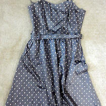 Nwot h&m Anthropologie Brown Pink Polka Dot Vintage Style Flare Dress 8 M Photo