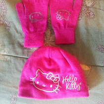 Nwot Hello Kitty Girls Hot Pink Hat & Gloves. One Size Fits All Photo