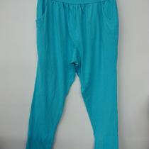 Nwot Hue Women's Harem Pant Size Medium Neon Blue 491b Photo