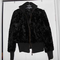 Nwot Inc Black Faux Fur Jacket Soo Cute Zip Front Sz L  Photo