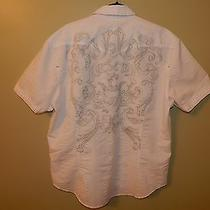 Nwot J Campbell White Gray Embroidered Short Sleeve Shirt Mens Fitted Sz Xl Photo
