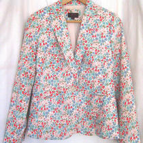 Nwot J.crew Campbell Cotton Blazer Liberty Print Poppy & Daisy Lined Size 10 Photo
