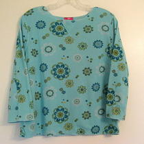 Nwot J Jill Finely Textured Ctn Poly Top Aqua French Blu Olive Floral 3/4 Slv Mp Photo