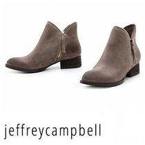 Nwot Jeffrey Campbell Taupe / Gray Crockett Zipper Trim Ankle Bootie Sz 10. Photo