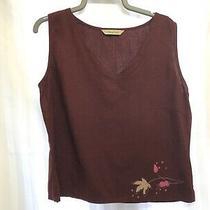 Nwot Joie De Vivre Uk 12 Red Linen & Viscose Sleeveless Blouse Top Photo