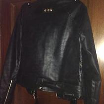 Nwot Just Cavalli Black Microfiber Jacket Large Photo
