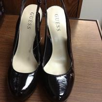 Nwot Ladies Guess Patent Leather Slingback Pump W/snakeskin Heel Size 7 Photo