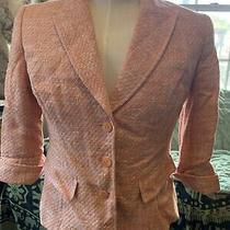 Nwot Lafayette 148 Orange Pink Blazer Jacket Size 8 Cotton Blend Photo