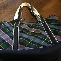 Nwot-Lands End Madras Plaid/canvas Tote Bag-Small-Navy Trim Lots of Pockets Photo