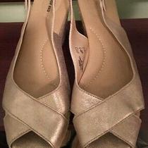 Nwot Lands End Slingback Wedge/platform Open/peep Toe Heels Shiny Gold Size 10b Photo