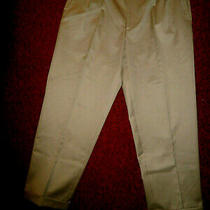 Nwot Lands End Traditional Fit Beige  Pants Pleated -Actual sz36x29.5