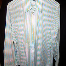 Nwot Lands End White Striped  Blouse Long Sleeve Button Front Shirt 20 W Woman Photo