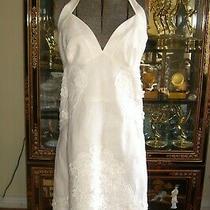 Nwot  Laundry by Shelli Segal White Floral Applique Halter Dress 6 Photo