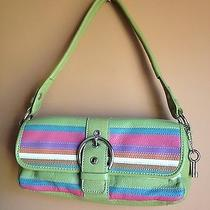 Nwot Leather Fossil Small Green Striped Purse Cute Photo