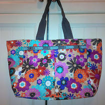 Nwot Lesportsac Handbag Tote Black Multi Color Flowers Includes Cosmetic Pouch Photo