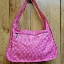 Nwot Lesportsac Hobo  Bag W/ Cosmetic Hot Pink & White Tiny Polka Dot Medium Photo