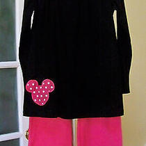 Nwot Lolly Wolly Doodle 2 Pc Set Minnie Mouse Tunic Top Pink Ruffle Pants Sz 10 Photo