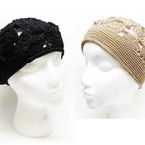 Nwot Lot of 2 the Sak Floral Crochet Hats - Black Beret & Tan Beanie Cap Photo