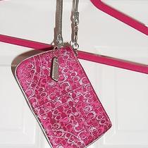 Nwot-Magenta Pink Metallic & Silver Coach Wristlet - Brand New Free Shipping Photo