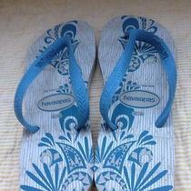 Nwot Mens Havaianas Flip Flop Sandals 10/11 Blue Beige Photo