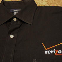 Nwot Mens Verizon Wireless Long Sleeve Embroidered Oxford Style Black Shirt   Photo