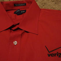 Nwot Mens Verizon Wireless Long Sleeve Embroidered Oxford Style Red Shirt Xl  Photo