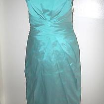 Nwot  Ml Monique Lhuillier   Strapless Taffeta Dress Aqua Size 6 Photo