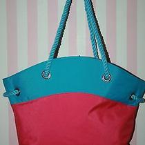 Nwot New Escada Roped Canvas Turquoise Blue and Pink Beach Tote Photo