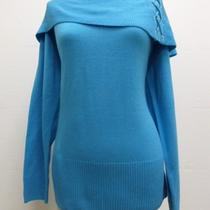 Nwot New York & Company Aqua Drape Neck L/s Woman's Sweater Top Sz Xl Photo
