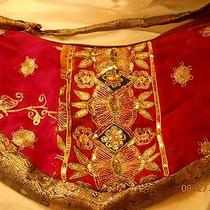 Nwot Newport News Hobo Bag / Recycled Sari Material - Embellished Mulberry Photo