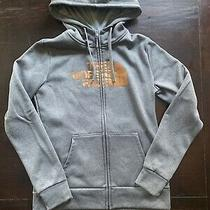 Nwot North Face Womens Gray Zip Hoodie  W/ Thumbholes Rose Gold Half Dome Med Photo