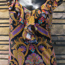 Nwot Ralph Lauren Blouse Sz S Paisley Ruffles Black Purple Gold  Red Aqua Cotton Photo