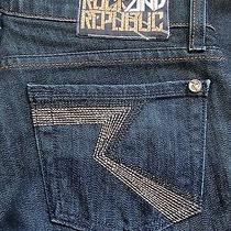 Nwot Rock & Republic Kasandra Death Metal Metallic Stitch Jeans 25 Photo