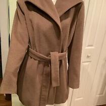 Nwot Size 12 Calvin Klein Wool Bld Coat  Beige Tie Trench Elegant Snaps Jacket Photo