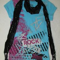 Nwot Size 7 Girls Avril Lavigne Abbey Dawn Aqua T-Shirt Matching Scarf Photo