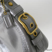 Nwot Small Coach Gray Grey Patent Leather Peyton Satchel Handbag Unused Mom Day Photo