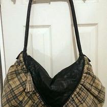 Nwot Sondra Roberts Vtg Lg Leather & Micro Suede Plaid Handbag Purse Mrsp  398 Photo