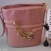 Nwot St John Knits Lizard Embossed Leather Bracelet Charms Handbag Pink  Italy Photo