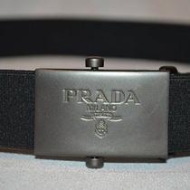 Nwot Sz S Prada Black Stretchy Adjustable Slide Brushed Nickle Buckle Belt Photo